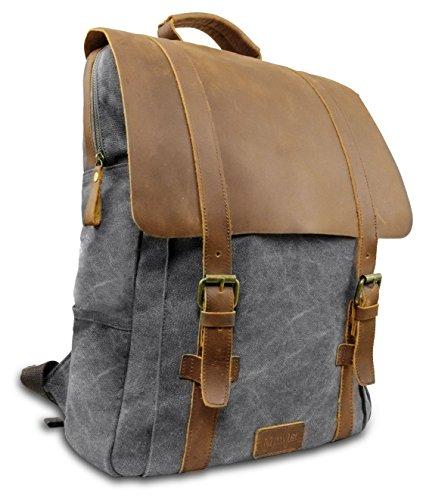 Laptop Rucksack Retro 15' - Echt Leder Vintage Rucksack für die Uni, Schulrucksack oder Business - universal einsetzbar – Ein lässiger Unisex Backpack / Daypack original von My1St (Hell-Grau)