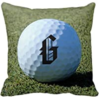 Monogram it Golf Ball on Green Closeup photo federe copricuscino – Tela decorativa federa 45,7 x 45,7 cm