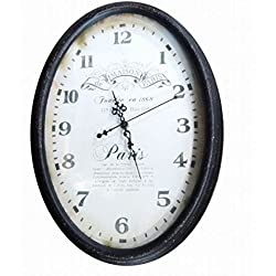 Oval Metal CM30 X 42 X 3.5 Clock Paris