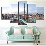 Rureng Soggiorno Hd Stampato Immagini Pittura Decorazione Domestica 5 Pannello Dubai Edificio Città Paesaggio Moderna Wall Art Posters-40X60 / 80 / 100Cm