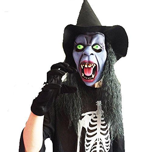 WYDM Halloween lange Haare Gesichtsmaske Horror Maske erschrecken Latex Stirnband Hut Dance Party Performance Requisiten