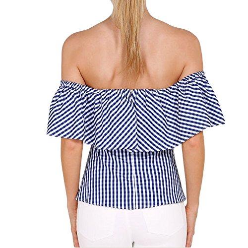LAEMILIA Chemise Femme Épaules Dénudées Dos Nu Bustier Rayure Sexy T-shirt Manches Courtes Tee Shirt Top Hauts Slim Fit Bleu