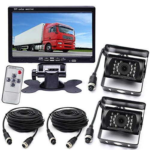 7 pulgadas TFT LCD HD Monitor de color sistema de estacionamiento de vehículos + 2x 4 pines autobús camión remolque RV 18 LED IR visión nocturna impermeable marcha atrás cámara de visión trasera