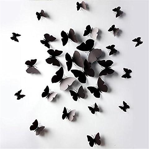 HENGSONG 3D Schmetterlinge Blumen 24er Set Dekoration Wandtattoo (Schwarz)