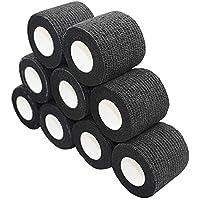 nilo - bende adesive - 12 rotoli 7,5 cm x 4,5 m, benda autoadesiva ed elastica (Nero)