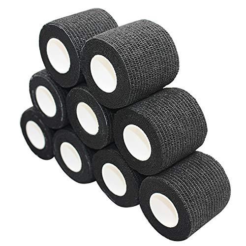 nilo Haftbandagen - 12 Rollen 7,5cm x 4,5m selbsthaftende elastische atmungsaktive Bandage, Hufverband, Angussverband, Erste Hilfe, Stützverband (Schwarz)