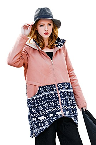 Frauen Winter Parka Jacke Casual Hooded Fleece Lange Mantel von You.U Rosa