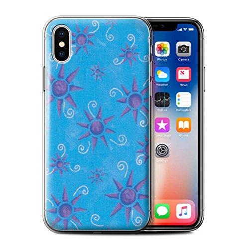 Stuff4 Gel TPU Hülle / Case für Apple iPhone X/10 / Gelb/Weiß Muster / Sonnenschein Muster Kollektion Blau/Lila