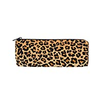 ALAZA Leopard Print Cylinder Pencil Case Holder Zipper Large Capacity Pen Bag Pouch Students Stationery Cosmetic Makeup Bag