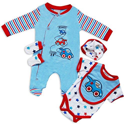 5pezzi bambino neonato Outfit Set Tutina Pigiama Body Cappello Guanti Cars Stampa by Aardvark in blu/bianco blu Blue/White/Red 6 - 9 mesi