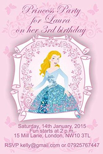 10x Cinderella personalisierbar Kinder Geburtstag Party Einladungen oder Dankeskarten (Cinderella-geburtstag Einladungen)