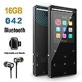 MP3 Player mit Bluetooth 4.2 unterstützen TWS Bluetooth Kopfhörer, 16GB Lautsprecher HiFi-Musik FM-Radio Schrittzähler Armband,unterstützung Zufallswiedergabe Equalizer. Metallgehäuse und Geschenkbox