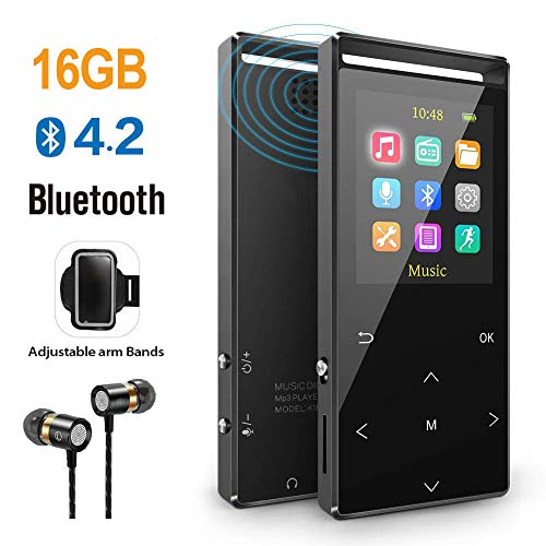 MP3 Player, 16GB Mp3 Player mit Bluetooth, Sports Armband, FM, FM-Recorder, Line-In Recorder, HiFi, Schrittzähler, Zufallswiedergabe, Sleep-Timer, Metallgehäuse und Geschenkbox