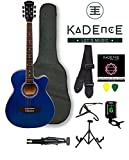 Kadence Frontier Series,KAD-FNTR-BLU-SC,Blue Acoustic Guitar Super Combo(Foldable Guitar Stand,Tuner,CapoBag,strap,strings and 3 picks)