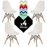 SILLA EAMES DSW (Pack 4) - SILLA TOWER WOOD Blanco - (Elige Color) SKLUM
