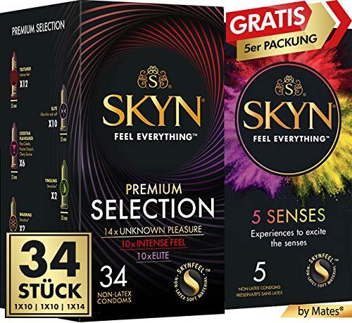 SKYN® Premium Selection of Unknown Pleasure, Intense Feel & Elite, preservativi senza lattice, confezione da 34 + 5 pezzi