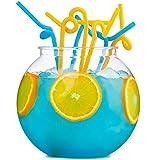Andrew James Partyschüssel Set aus Acryl | 3 Liter Wiederverwendbar Cocktailschüssel mit 30 Extra Langen Strohhalme | Perfekt für Partys für Cocktails und Alkoholfreie Getränke