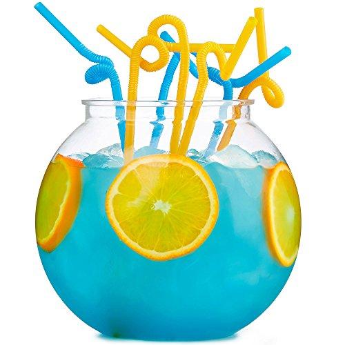 Andrew James Partyschüssel Set aus Acryl | 3 Liter Wiederverwendbar Cocktailschüssel mit 30 Extra Langen Strohhalme | Perfekt für Partys oder als Barzubehör für Cocktails und Alkoholfreie Getränke