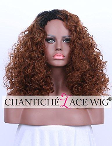 ne Curly perücken for Black Women Cheap Shoulder Length Dark Root Synthetic perrücke Machine Made Heat Resistant Fiber (Brown Curly Perücke)