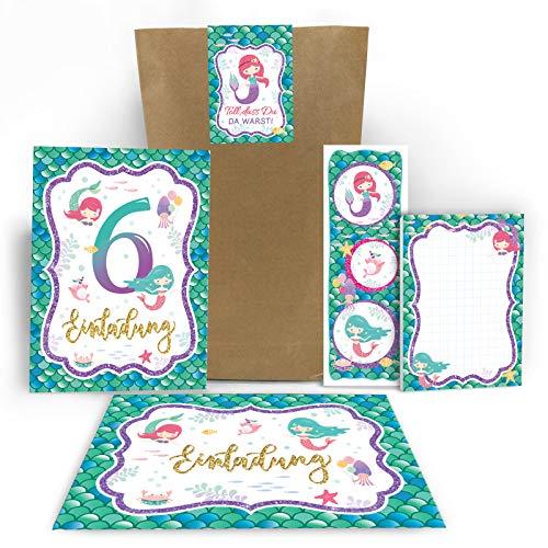 Junaversum 12 Einladungskarten zum 6. Kindergeburtstag Mädchen Meerjungfrau Einladungen sechste Geburtstag incl. 12 Umschläge, 12 Tüten / Natur, 12 Aufkleber, 12 Lesezeichen, 12 Notizblöcke