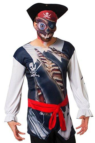 kostüme Herren Karneval Fasching Oberteil Maske Blau Weiß ()