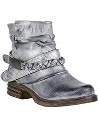Gefütterte Damen Biker Boots | Stiefeletten | Winterschuhe Metallic | Prints Nieten Schnallen | Übergößen Schuhe | Flandell®