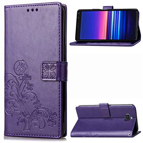 TASoker Handyhülle für Sony Xperia 20 Hülle Leder Filp Wallet Handyhülle Flipcase Multifunktionale Tasche Cover Brieftasche Schutzhülle Ständer Klappbar Handytasche Lila
