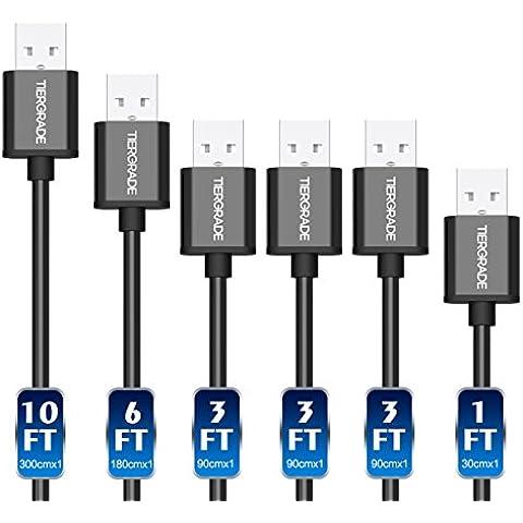 Micro USB Cable de alta velocidad de datos cable de carga con Metal [aleación de aluminio] conector en diversos longitud (30 cm, 90 cm, 1,8 m, 3 m) para Android Pack 6 (negro)