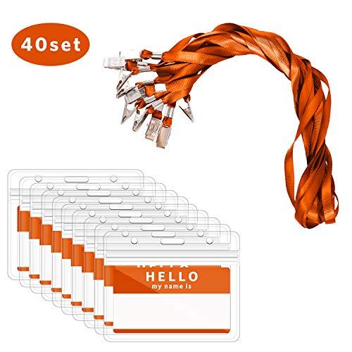 Ausweishülle mit Band, Zalava 40 Stück Kartenhalter Ausweishalter Lanyard wasserdicht Karten Schutzhülle für Business, Ausstellung, Büro und Schule (Orange)