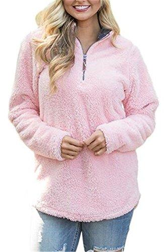 BESTHOO Maglie Donna Autunno Felpa Camicetta Manica Lunga V-collo Zip Camicia Plus Cashmere Sweatshirt Tops Jumper Sportswear Maglieria Pink