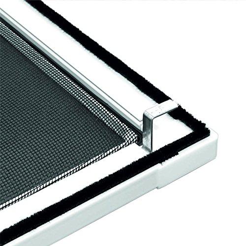 1PLUS Standard Insektenschutz Fliegengitter Aluminium Spannrahmensystem für Fenster, individuell kürzbar, ohne Bohren, 120 x 150 cm, weiß