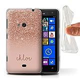 Stuff4® Personalisiert Individuell Glitter Effekt Gel/TPU Hülle für Nokia Lumia 625 / Roségold Design/Initiale/Name/Text Schutzhülle/Case/Etui