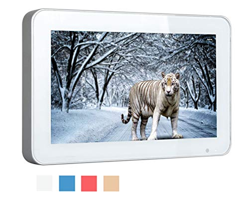 Soulaca 10.6inch Stylish Bathroom IP66 Waterproof Silver Frame Mini LED TV HD Ready with Freeview(TV/DC/HDMI)