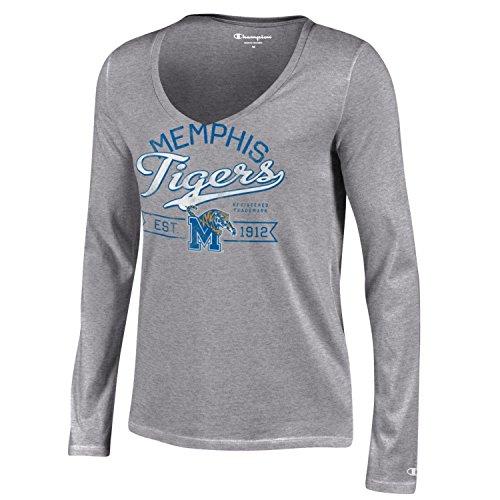Life Womens Cap Sleeve T-shirt (Champion NCAA Damen Universität Lange Sleeve V-Neck T-Shirt, Damen, NCAA Women's University Long Sleeve V-Neck T-Shirt, grau, X-Small)