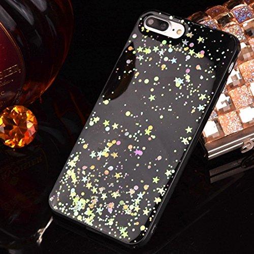 BING Für iPhone 7 Epoxy Dripping gepresst echt getrocknete fallende Blumen Glitzer Powder Girl weichen TPU Schutzhülle Cover BING ( SKU : Ip7g2298b ) Ip7g2298b