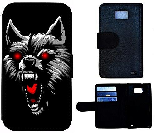 Flip Cover Schutz Hülle Handy Tasche Etui Case für (Apple iPhone 4 / 4s, 1592 Motorrad Schwarz Gelb) 1591 Wolf Böse Schwarz Rot Untier