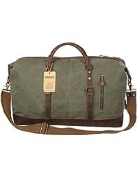 EverVanz Bolsa de viaje de cuero de gran tamaño de lona para fines de semana o noches
