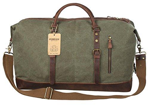 Gran bolso de mano viajero de lona y cuero