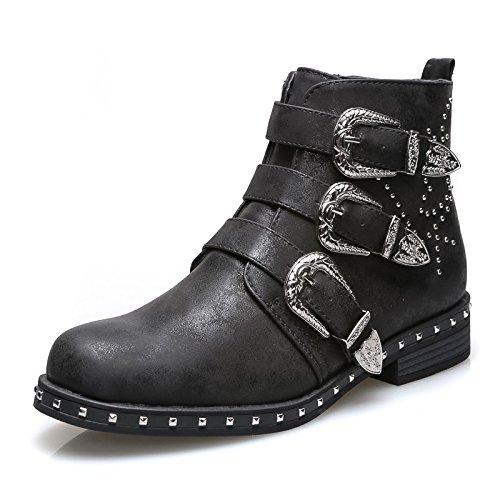 Mforshop scarpe donna stivaletti tronchetto texani eco pelle fibbia borchie estivi g333 - nero, 36