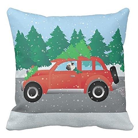 Carlin Conduite de voiture avec arbre de Noël sur le dessus Couvre-lit Taie d'oreiller