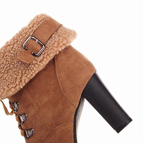 Scarpe Donna Rcool Modelli da donna autunno e inverno con gli stivali da neve a tubo Moda,Caldo cashmere Cachi