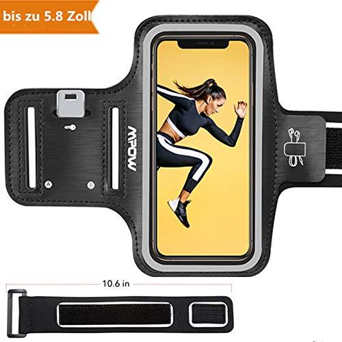Mpow Sportarmband Handy für iPhone X/8/7/6【bis zu 5.8 Zoll】, schweißfest Handy Armband Joggen mit Verlängerungsband, Sportarmband für iPhone,Huawei P20 Lite,Samsung Galaxy J5