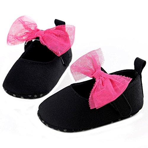 Chaussures de bébé,Transer ® Fille doux berceau unique de Bowkhot Toddler premières chaussures de marche Noir