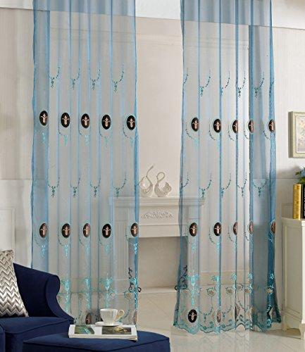 abcwoo Exquisites Design Home Dekoration Landhaus Stil Löwenzahn Sheer bestickt Vorhang Drape Voile Panel für Schlafzimmer Esszimmer und Wohnzimmer (1Panel, W 52x l 213,4cm, weiß), Polyester-Mischgewebe, blau (1), 52W x 95L Inch, 1 Panel (Ombre Sheer Panel)