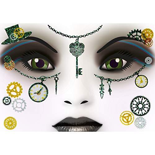 HERMA 15438 Face Art Sticker Steampunk Amelia Gesicht Aufkleber Glitzer Sticker für Fasching, Karneval, Halloween, dermatologisch -
