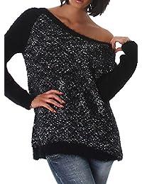 Damen Pullover mit weichem Grobstrickmuster, Rundhalsausschnitt und langen Ärmeln, eleganter Farbmix