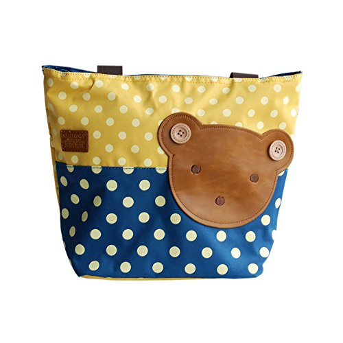 Blancho [Bear-yellow] Applique enfants Tissu Art Sac à main/Shopper Bag-middile Taille (13.3 * 5.1 * 10.6)