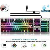 Gaming Tastatur, Mechanische Skiller Pro Plus Hintergrundbeleuchtung RGB LED Gaming-Tastatur, Beleuchtete 7 Farben Helligkeit USB wasserdicht Mechanical Keyboard für Pro Gamer, Schwarz