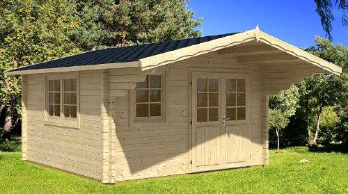 Gartenhaus ENZO - C/1 Blockhaus 400x500cm - 40mm - Inkl. Fußboden+Verglasung Gartenlaube Holzhaus...