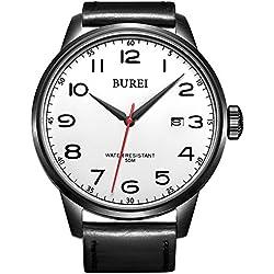 BUREI® Men's Date Waterproof Quartz Watch with Black Leather Strap, White Dial